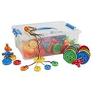 ECR4Kids Lace'em Up Buttons Math Manipulatives Building Kit, Educational Sensory Learning Toys for Children (144-Piece Set)