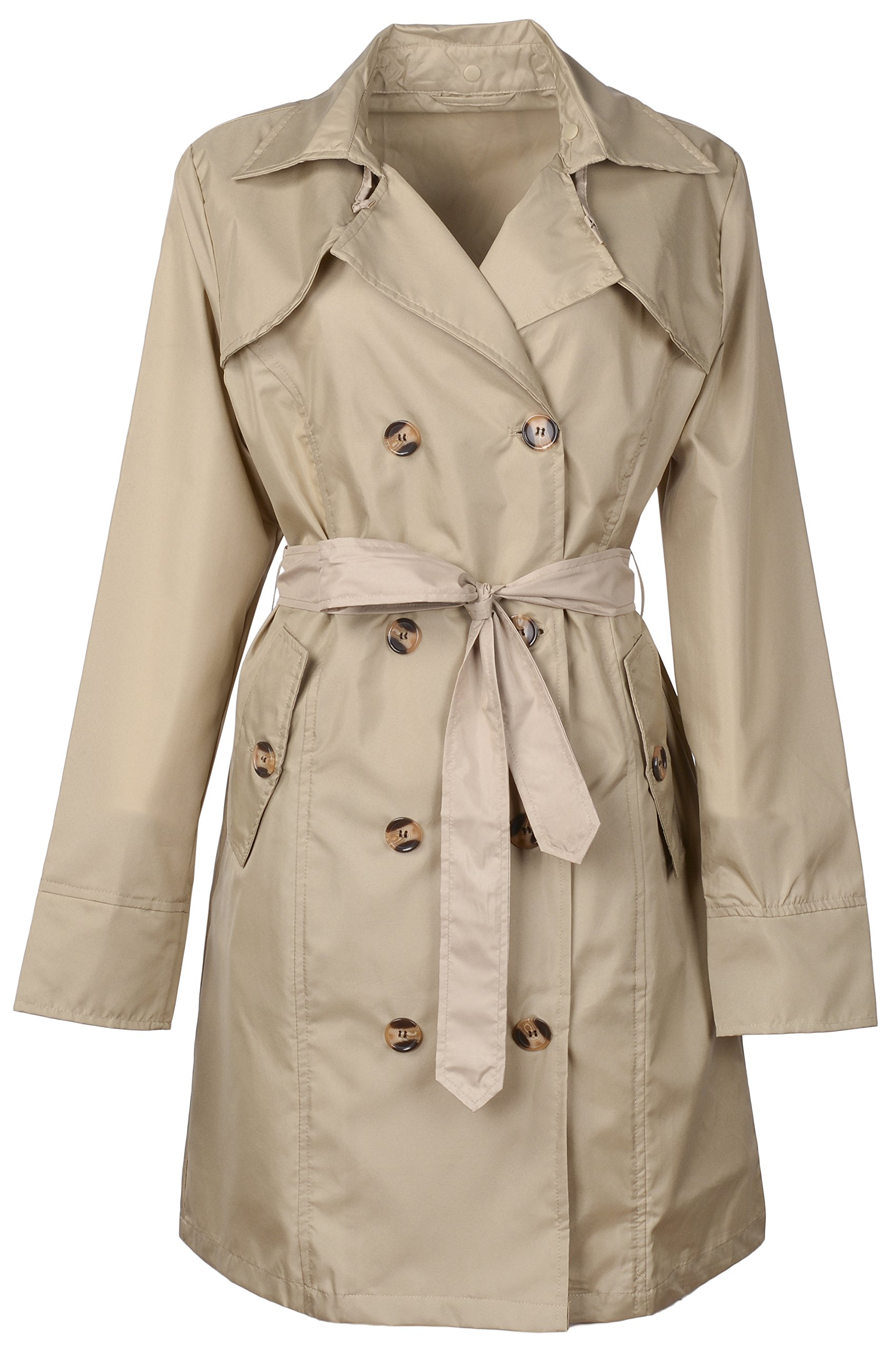 QZUnique Women's Waterproof Packable Rain Jacket Double Breasted Poncho Raincoat Khaki