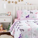 Amazon Basics Easy Care Super Soft Microfiber Kid's Bed-in-a-Bag Bedding Set - Twin, Purple Unicorns