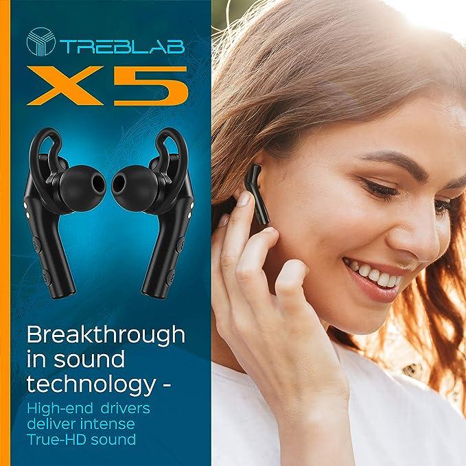 TREBLAB X5 Écouteurs Bluetooth Révolutionnaires avec Charging Boîte, Véritable Qualité Sonore 3D, Oreillette sans Fil Écouteurs Antibruit