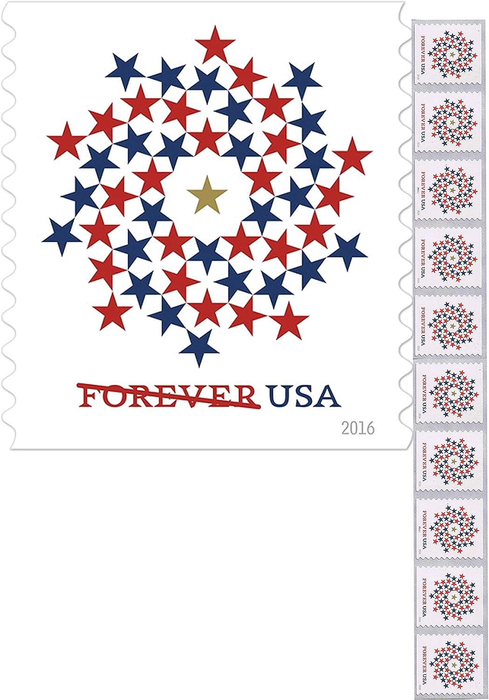 Libro en espiral patriótico de 10 sellos Forever First Class USPS USA Stars rojo y azul: Amazon.es: Oficina y papelería