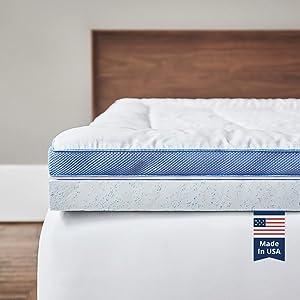 ViscoSoft Pillow Top Latex Mattress Topper Twin XL | Serene 3 Inch Gel Latex Mattress Pad & Cover