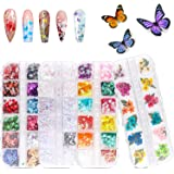 48 Colors Dried Flowers Nail Art Butterfly Glitter Flake 3D Holographic, Tufusiur Dry Flower Nails Sequins Acrylic…