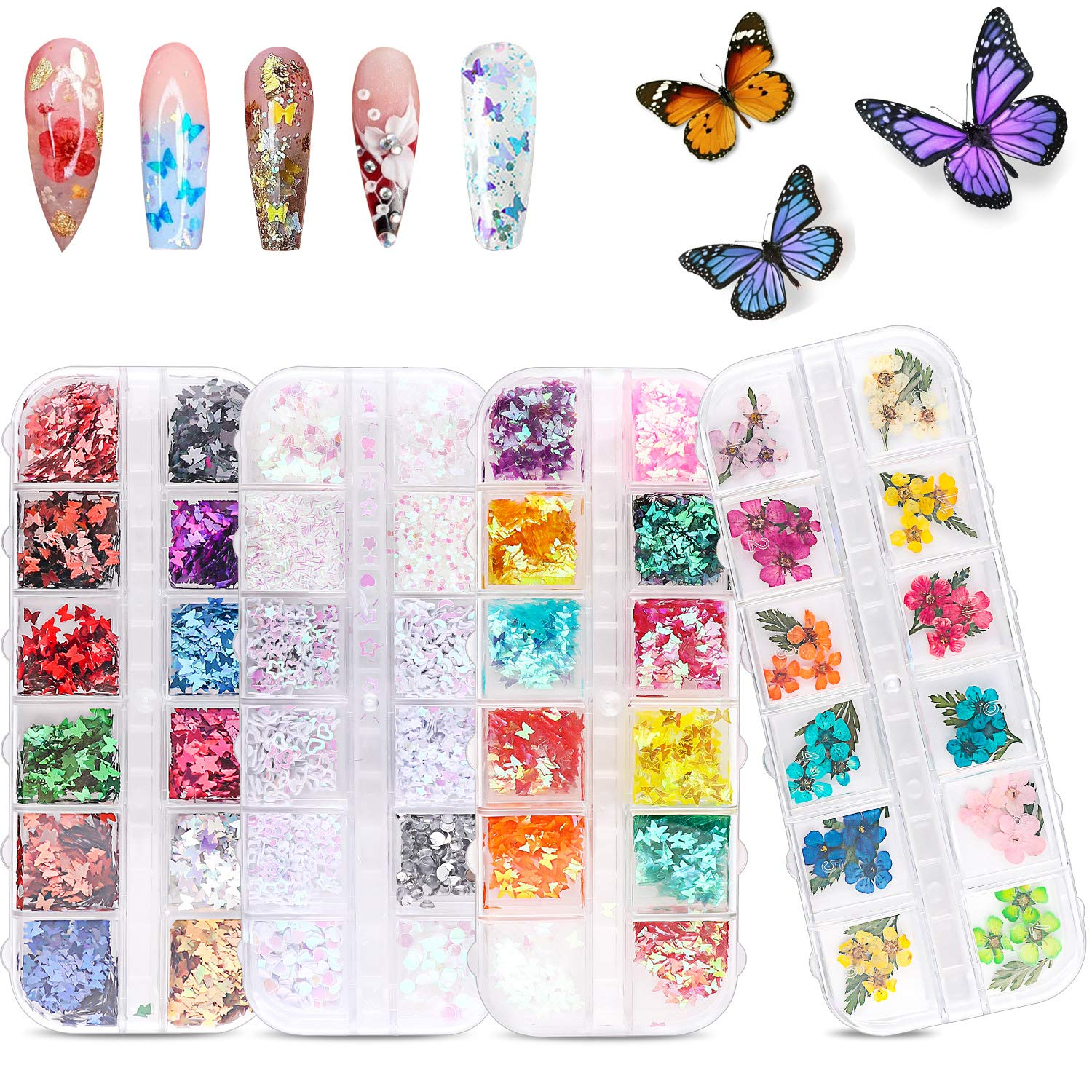 48 Colors Dried Flowers Nail Art Butterfly Glitter Flake 3D Holographic, Tufusiur Dry Flower Nails Sequins Acrylic Supplies Face Body Gifts for Decoration Accessories & DIY Crafting: Beauty