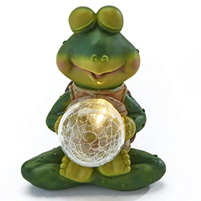 The Lakeside Collection Meditation Pose Frog Statue with Solar Glass Ball - Lighted Garden Accent : Garden & Outdoor
