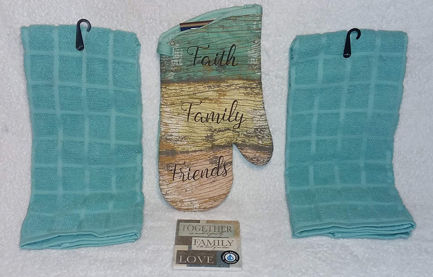 Sunroom Creations 3 Piece Beachy Aqua Kitchen Towesl and Oven Mitt Set with Matching Coaster