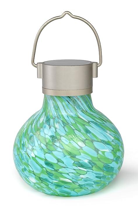 Allsop Home And Garden Solar Tea Lantern, Handblown Glass With Solar Panel  And LED Light