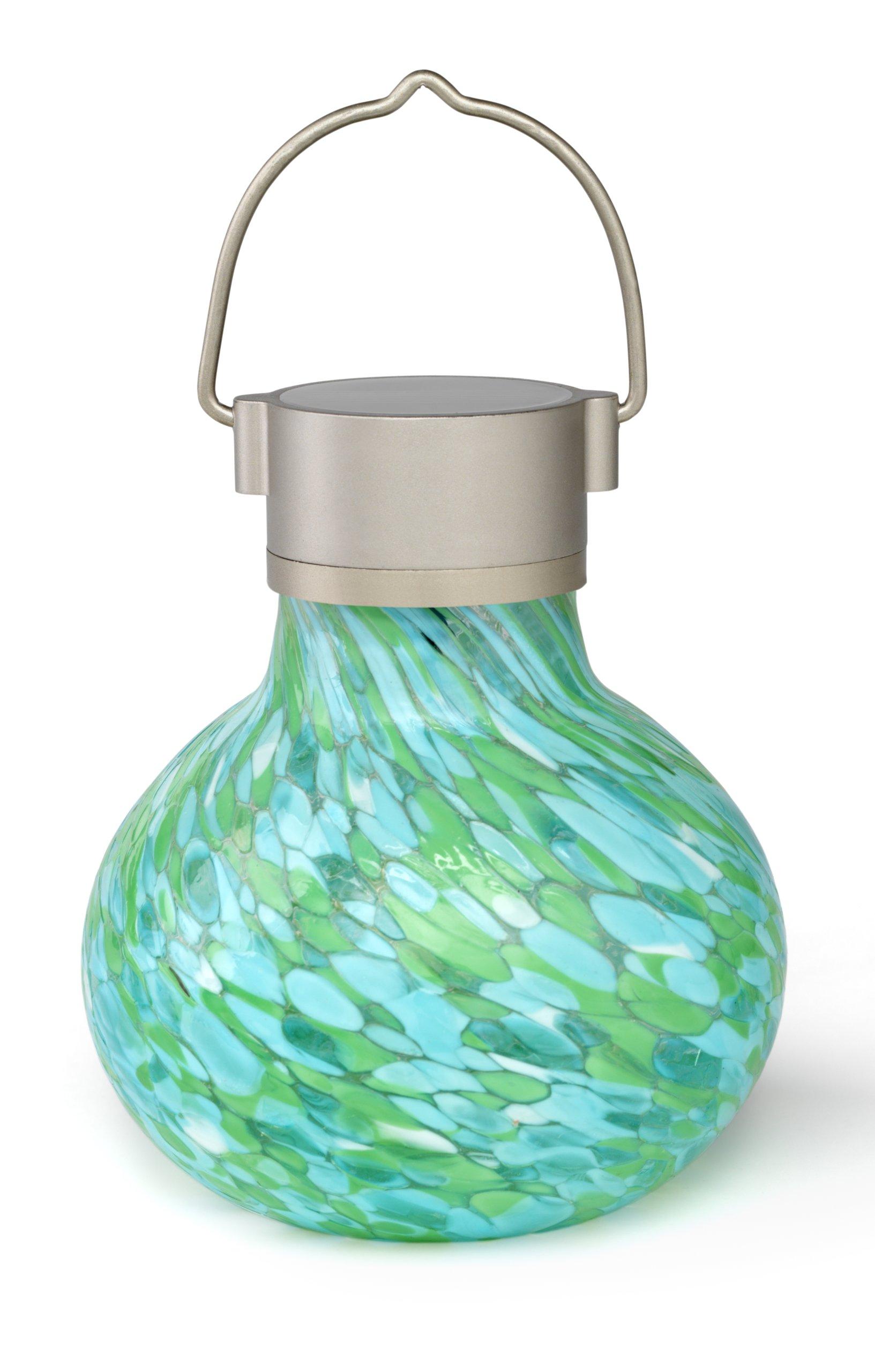 Allsop Home and Garden Solar Tea Lantern, Handblown Glass with Solar Panel and LED Light, Weather-Resistant for Outdoor Deck, Patio, Garden, Wedding, Mint, 1-Count by Allsop Home and Garden