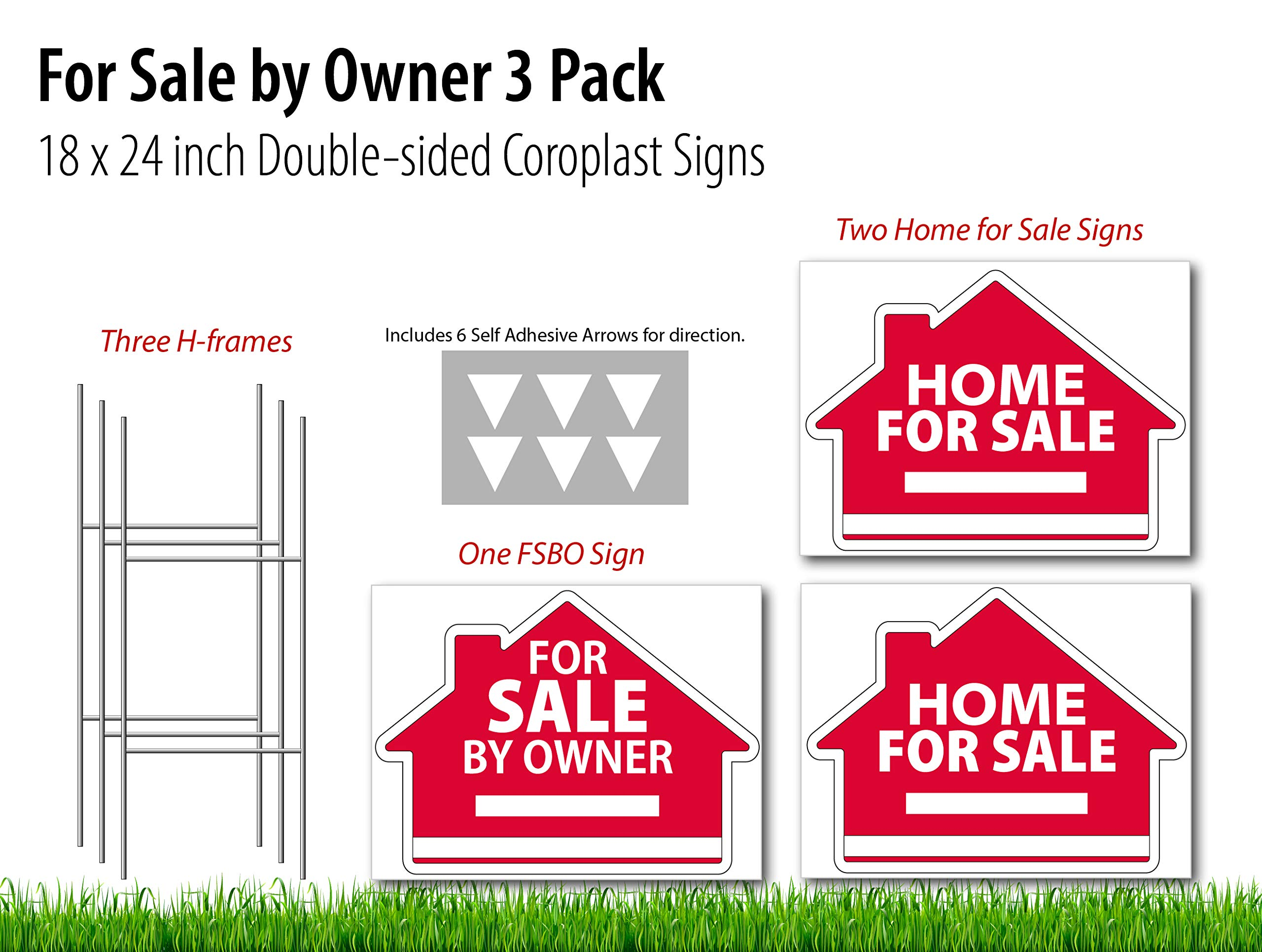 for Sale by Owner (1), Home for Sale (2) Real Estate Signs 3 Pack - 18 x 24 inch Yard Sign Kit - 3 H-Stakes - 6 Vinyl Arrow Stickers - 3 Double Sided Coroplast Yard Signs - 2 Designs