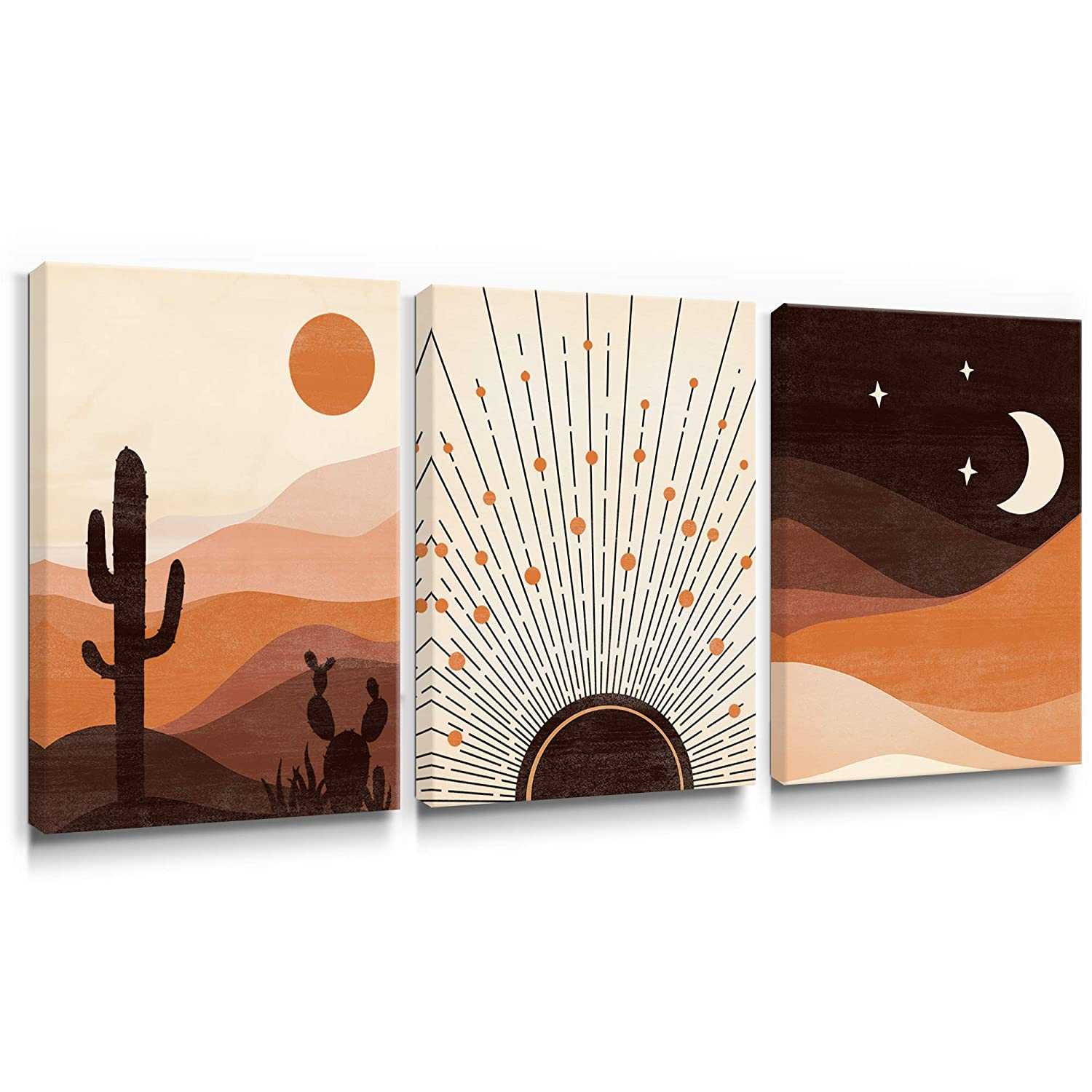 Geeignet Boho Wall Art Desert Scenery Canvas Paintings Abstract Sunrise and Sunset Pictures Orange Home Decor for Bathroom Living Room Bedroom 12x16 Inch, 3 Panels