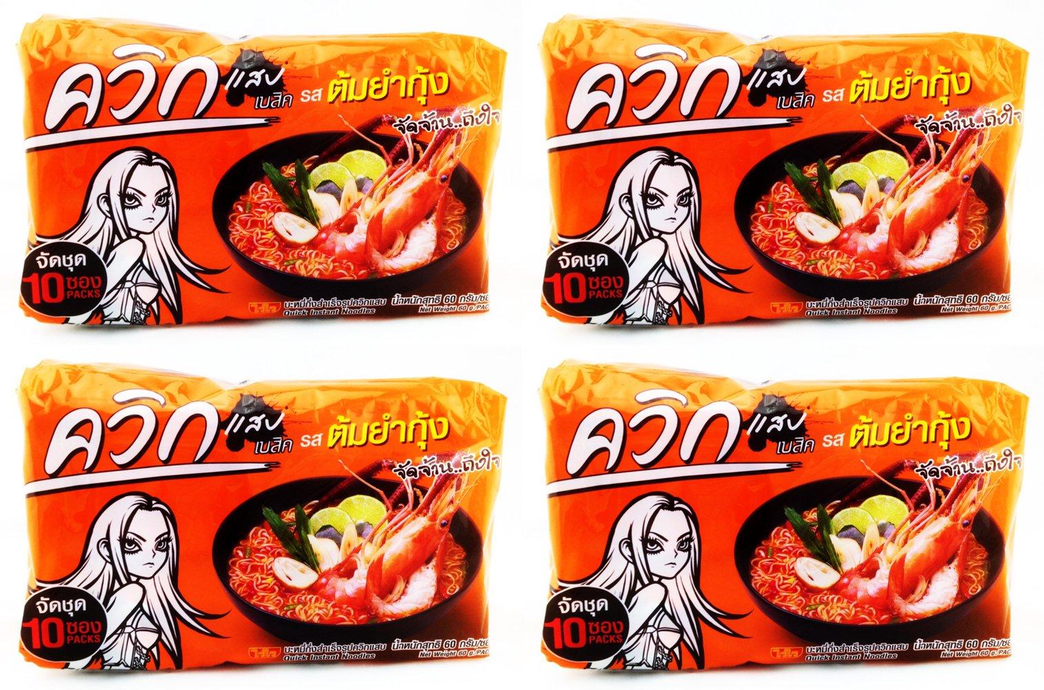 4 Packages TOM YUM Shrimp Flavour Instant Noodles, Net. Wt. 60 G X 10, Thai Best Seller [Favorite Thai Food], Product of Thailand