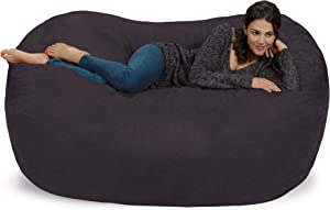Chill Sack Bean Bag Chair: Huge 6' Memory Foam Furniture Bag and Large Lounger - Big Sofa with Soft Faux Linen Cover - Linen Black