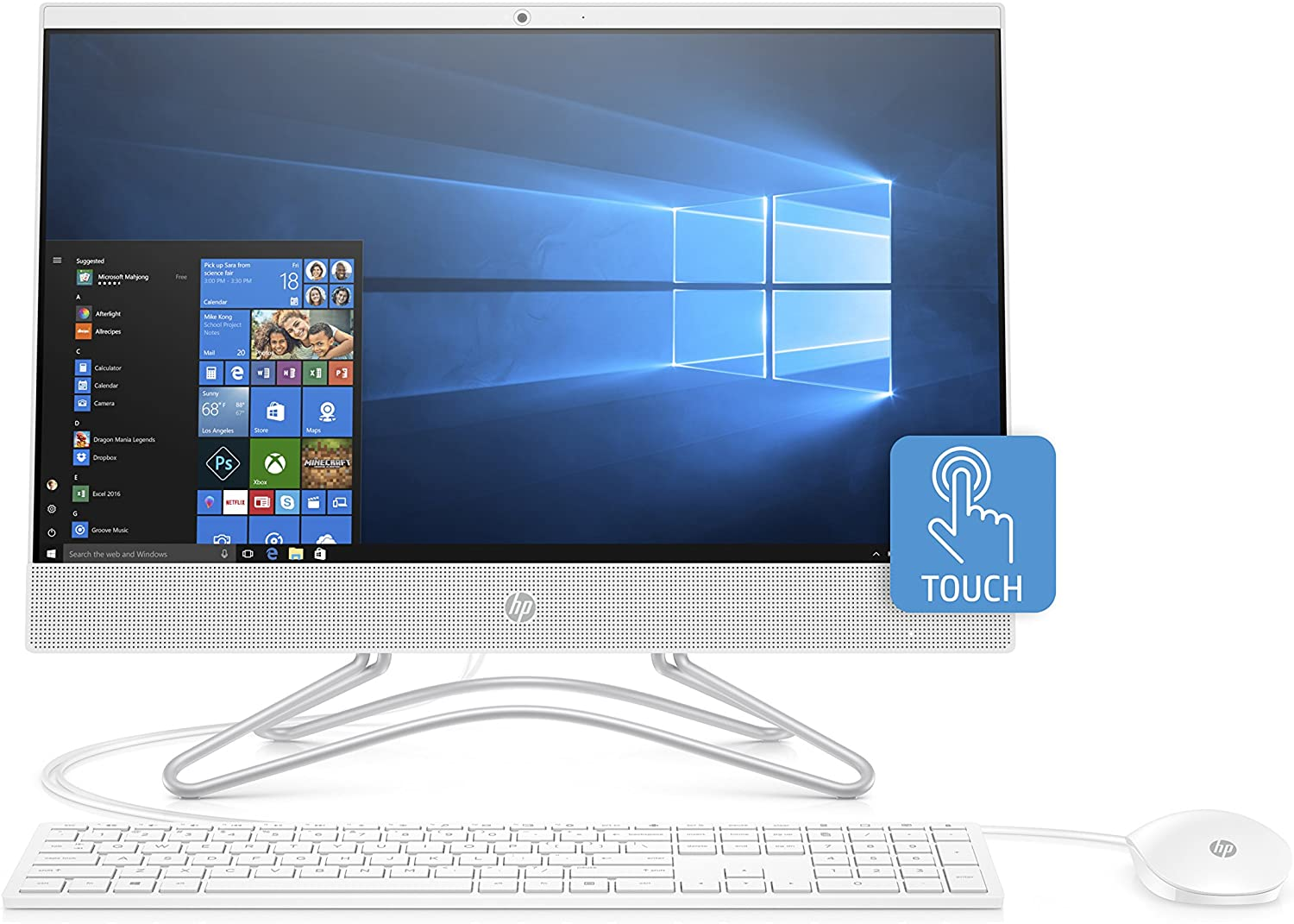 HP 22-Inch All-in-One Computer, Intel Core i3-8130U, 4GB RAM, 1TB Hard Drive, Windows 10 (22-c0030, White)