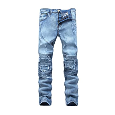 Hokny TD Mens Comfortable Jeans Slim Straight Fit Stretch Denim Pants