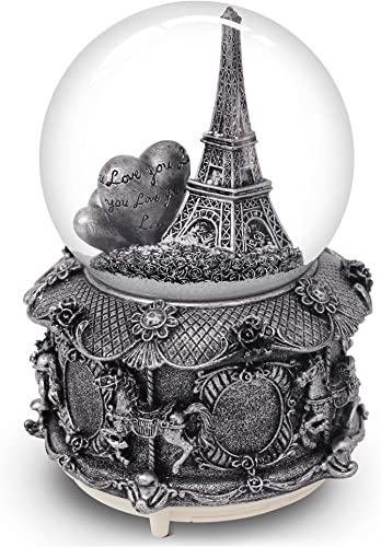 QTKJ Paris Snow Musical Globe with Color Changing LED Lights, Eiffel Tower Snow Globe with Merry-go-Round Base, 100mm 6 Tall Souvenirs Collection Silver