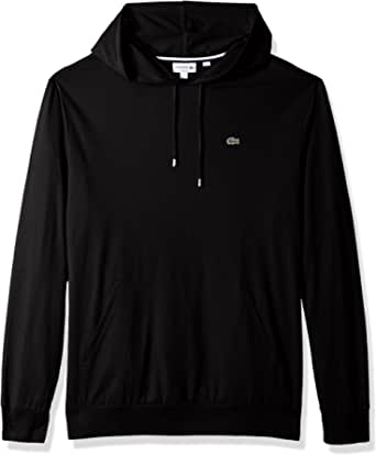 Lacoste Men's Long Sleeve Jersey Hoodie Tee with Central Pocket, TH9349