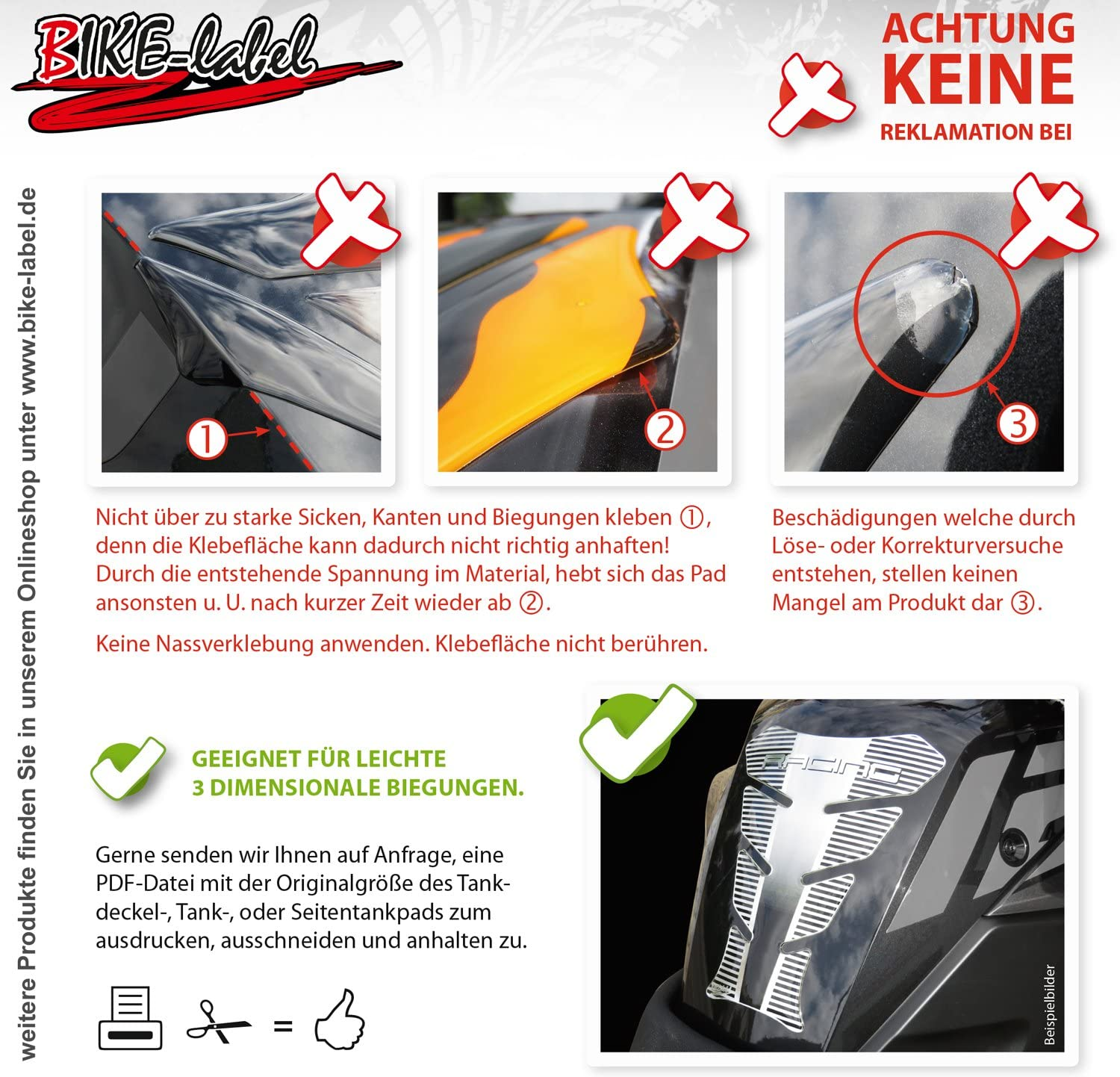 Bike Label 550100A Deko Lackschutz Pads passend f/ür KTM 790 Adventure R