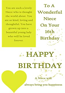 Niece 16th happy birthday card lots of love to the best niece in niece 16th birthday with removable laminate bookmarktalkfo Gallery