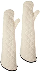 "San Jamar 824TM Heavy Duty Terry Cloth Temperature Protection Oven Mitt, 24"" Length, Natural"
