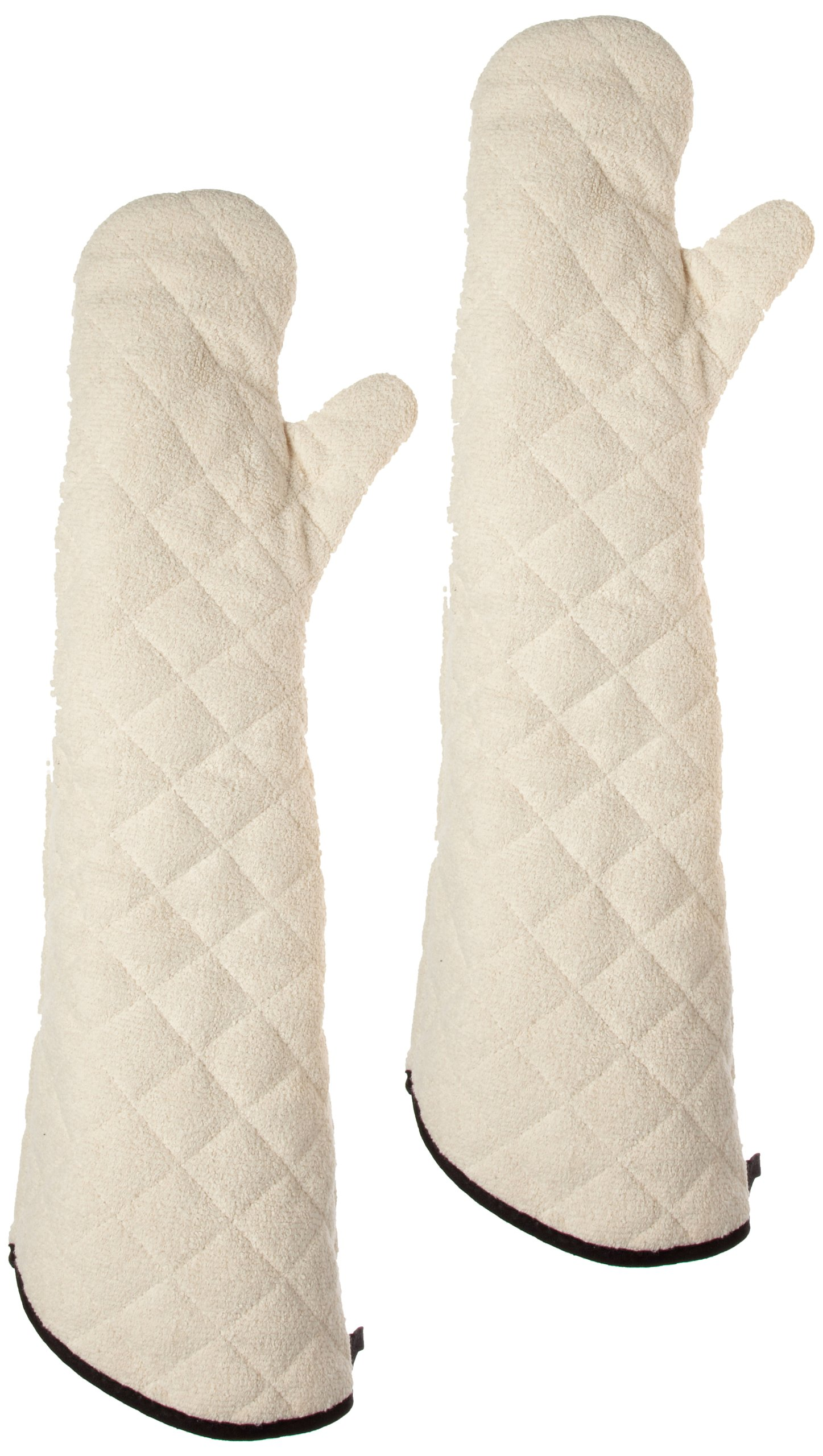 San Jamar 824TM Heavy Duty Terry Cloth Temperature Protection Oven Mitt, 24'' Length, Natural by San Jamar
