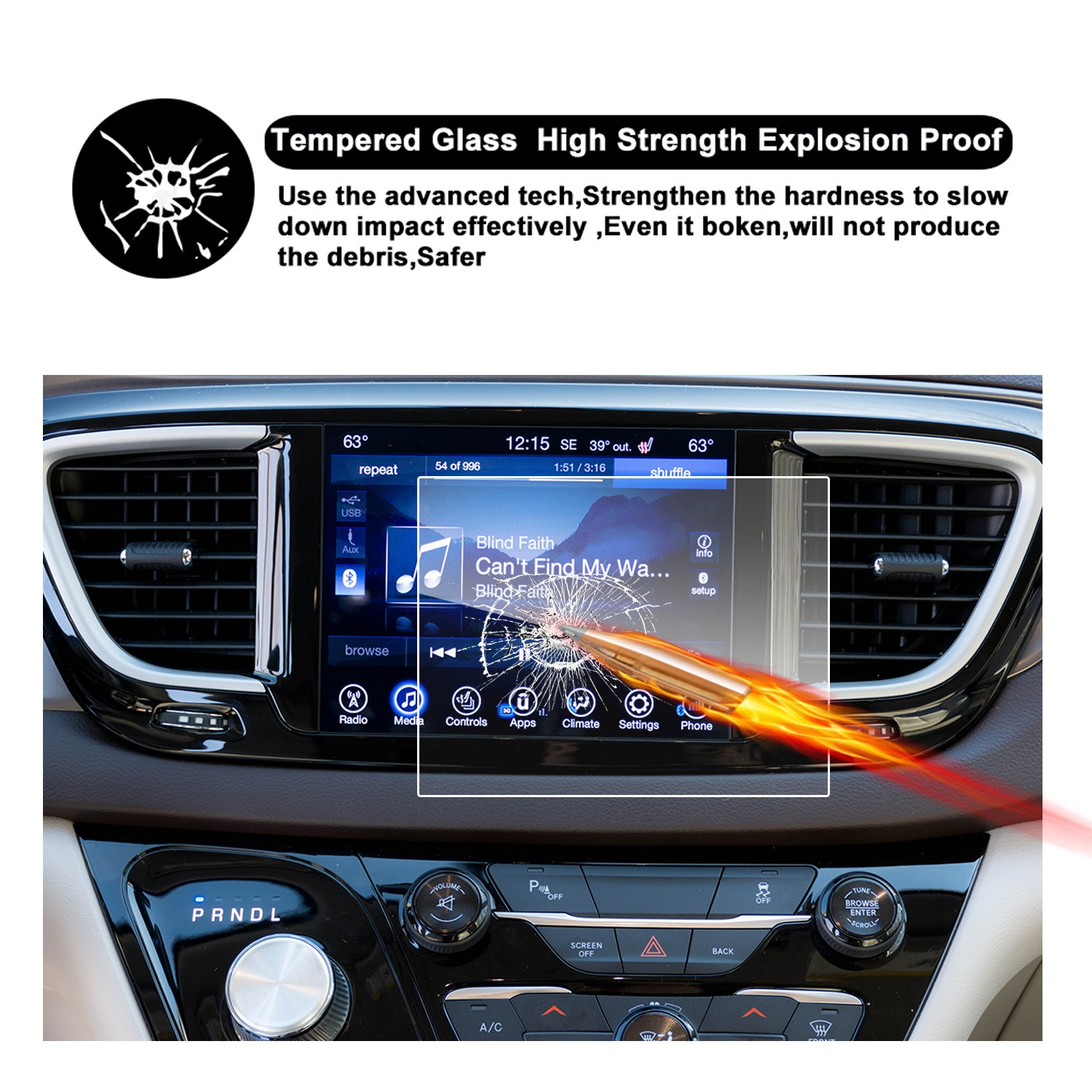 2017 2018 Chrysler Pacifica Hybrid Uconnect Touch Screen Car Display Navigation Screen Protector 8.4-Inch RUIYA HD Clear TEMPERED GLASS Car In-Dash Screen Protective Film CP-8.4