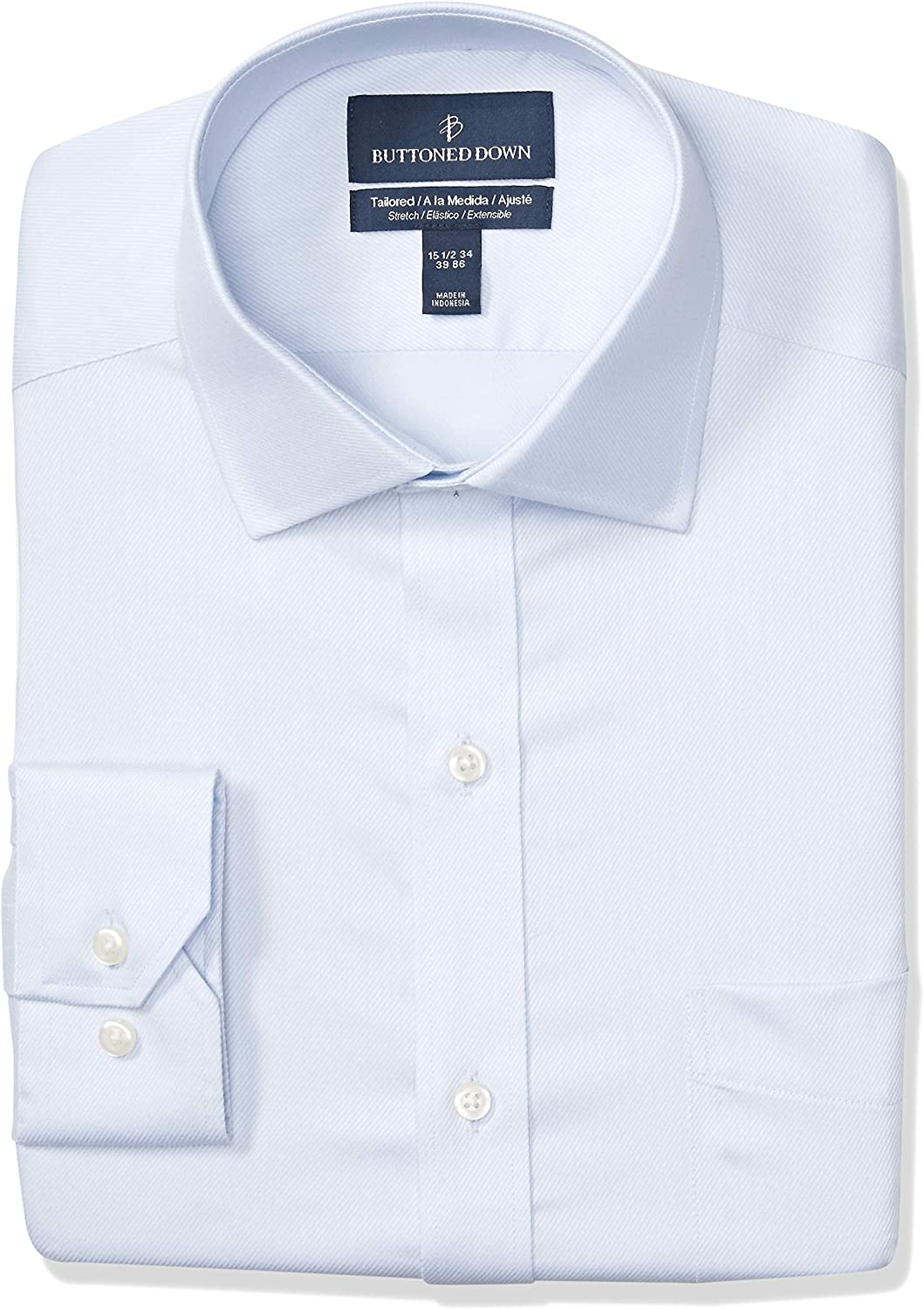Marca Amazon - Buttoned Down Tailored-fit Stretch Twill Non-Iron Dress Shirt Hombre