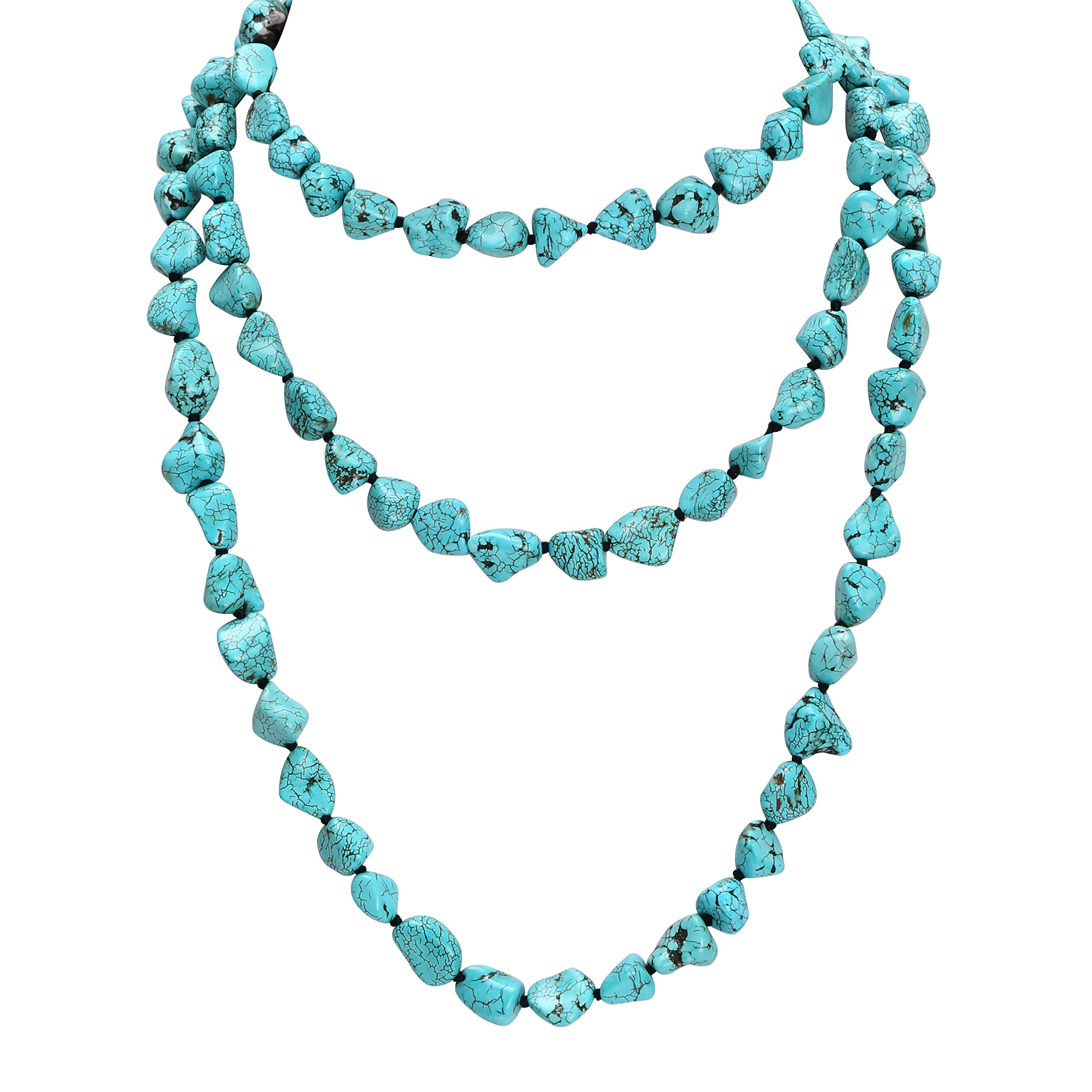 POTESSA Turquoise Beads Endless Necklace Long Knotted Stone Multi-Strand Layer Necklaces Handmade Jewelry 59''