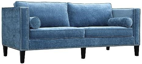 Superb Tov Furniture Cooper Velvet Sofa Blue Andrewgaddart Wooden Chair Designs For Living Room Andrewgaddartcom