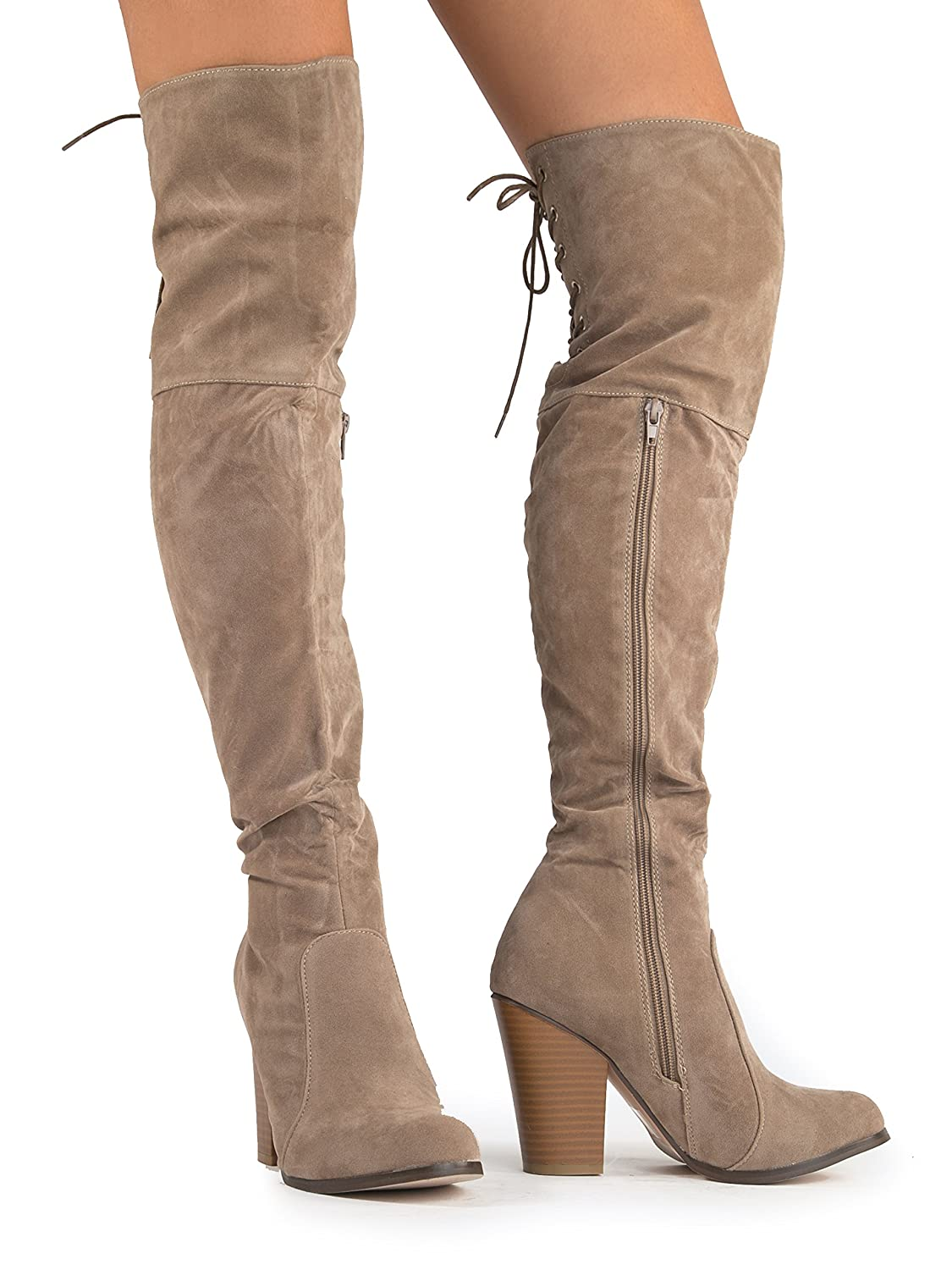 J. Adams Gorgeous Over The Knee Boot-Thigh High Boot-Comfortable Vegan Leather Tie Up Dress Faux Suede Block Heel Walking Boot by B076X8DBJR 5.5 B(M) US Taupe