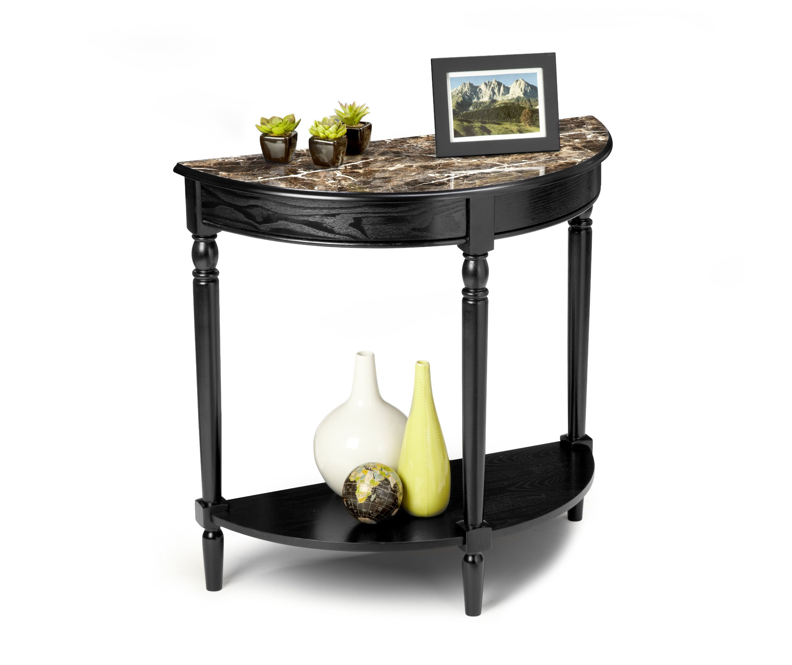 Convenience Concepts M6042182 French Country Entryway Table, Black Faux Marble Top
