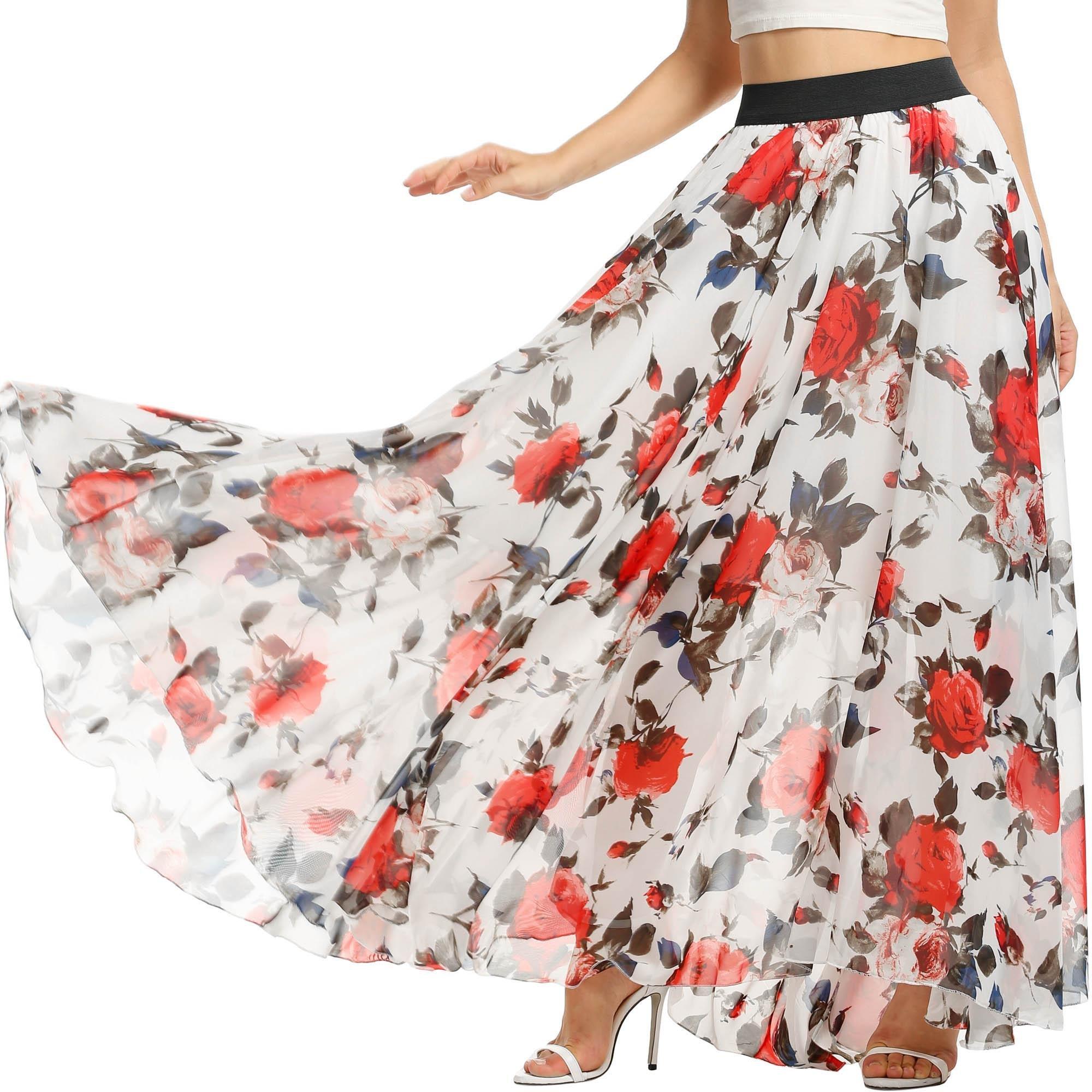 ELESOL Womens Summer Beach Chiffon High Waist Skirt Vacation Long Skirt Plus Size Floral 2/XXL