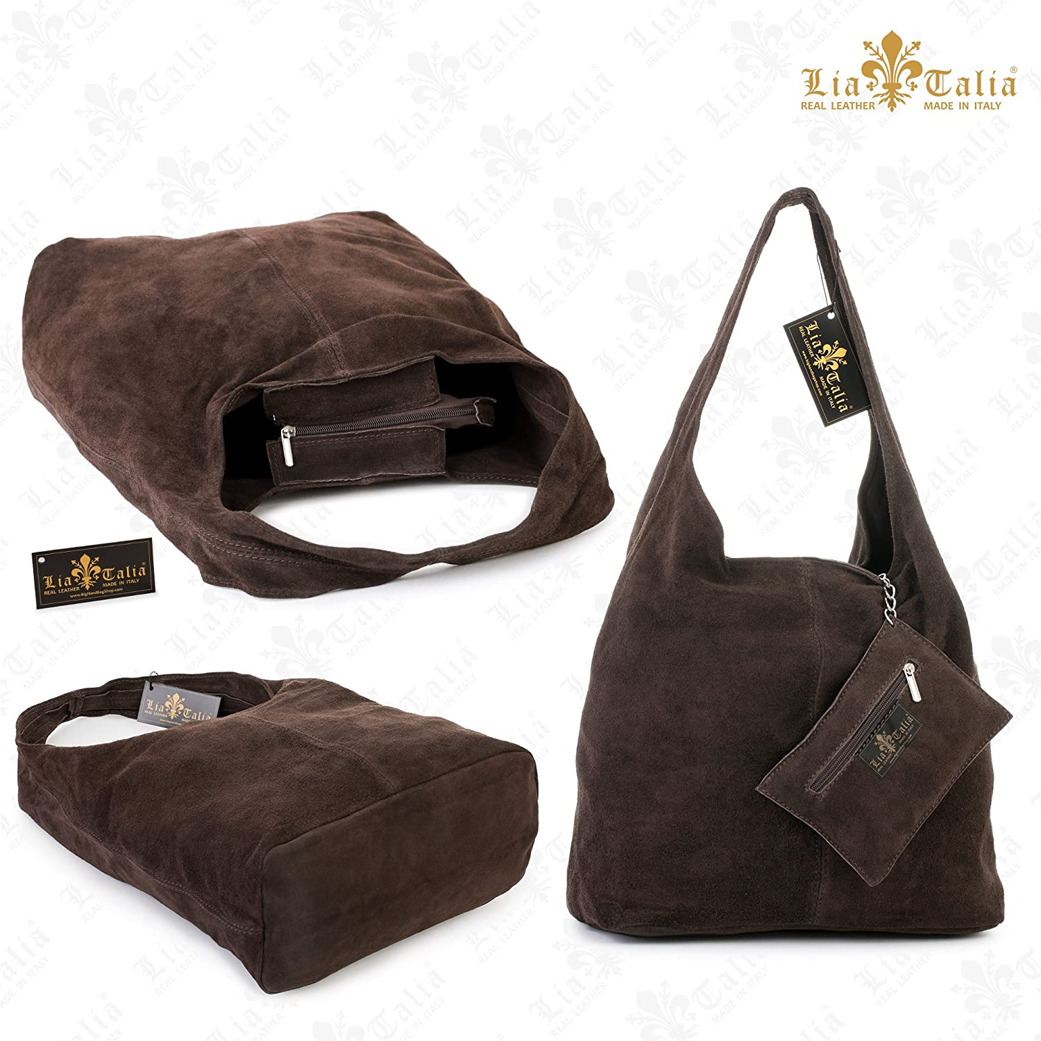 Womens Italian Real Suede Leather Small Shoulder Bag 3 Compartments Tote Handbag