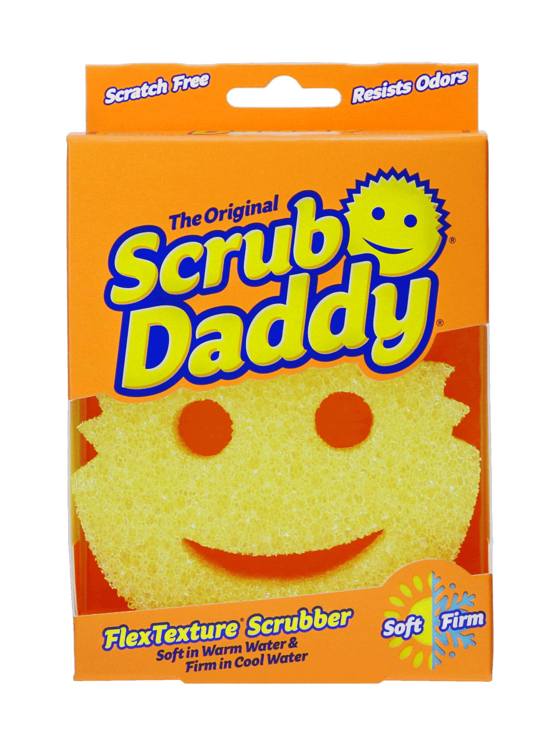 2 pack Deep Cleaning Scratch Free Soft in Warm Water Ergonomic- 3ct Firm in Cold Multi-use Odor Resistant Functional Scrub Daddy Colors FlexTexture Sponge Dishwasher Safe