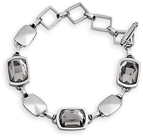Tamaris Damen Armband Becky Edelstahl Katzenauge schwarz 21 cm