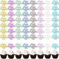 40 Pack Glitter Happy Birthday Cake Toppers, Birthday Cupcake Topper Picks for Birthday Party Cake Decoration, 8 Colors (cupcake toppers)