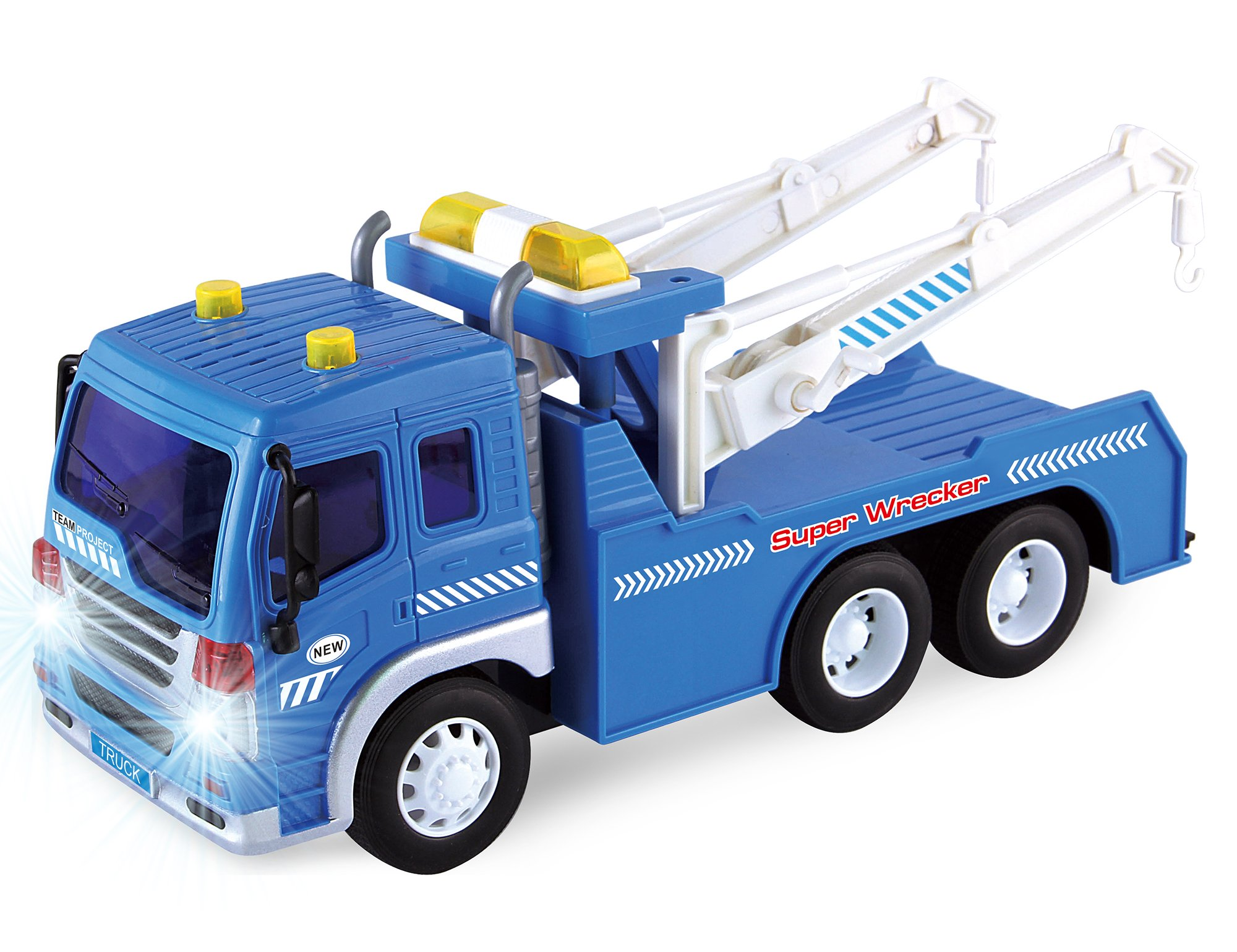 Friction Powered Wrecker Tow Truck 1:16 Toy Towing Vehicle with Lights and Sounds (Double Hooks)