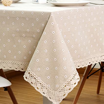 ColorBird Daisy Flower Cotton Linen Tablecloth Macrame Lace Dustproof Table  Cover For Kitchen Dinning Pub Tabletop