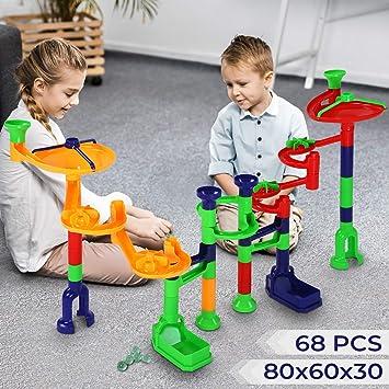 Infantastic Kugelbahn Marble-Run Set Kinder Spielzeug Kunststoff und Glas Lernspielzeug Murmelbahn 80x60x30 cm f/ür Kinder ab 3 Jahre Murmelspiel