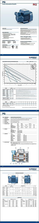 Elettropompa PQ Periferica PQm70 0,85Hp girante Ottone 220 Pompa Acqua Pedrollo