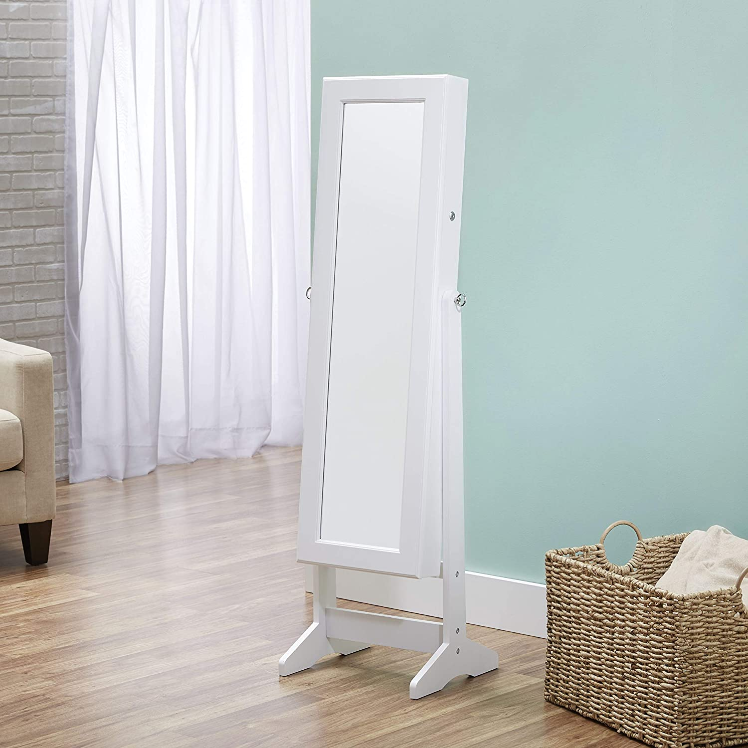 Amazon Com Firstime Co Cheval Free Standing Jewelry Armoire White Home Kitchen