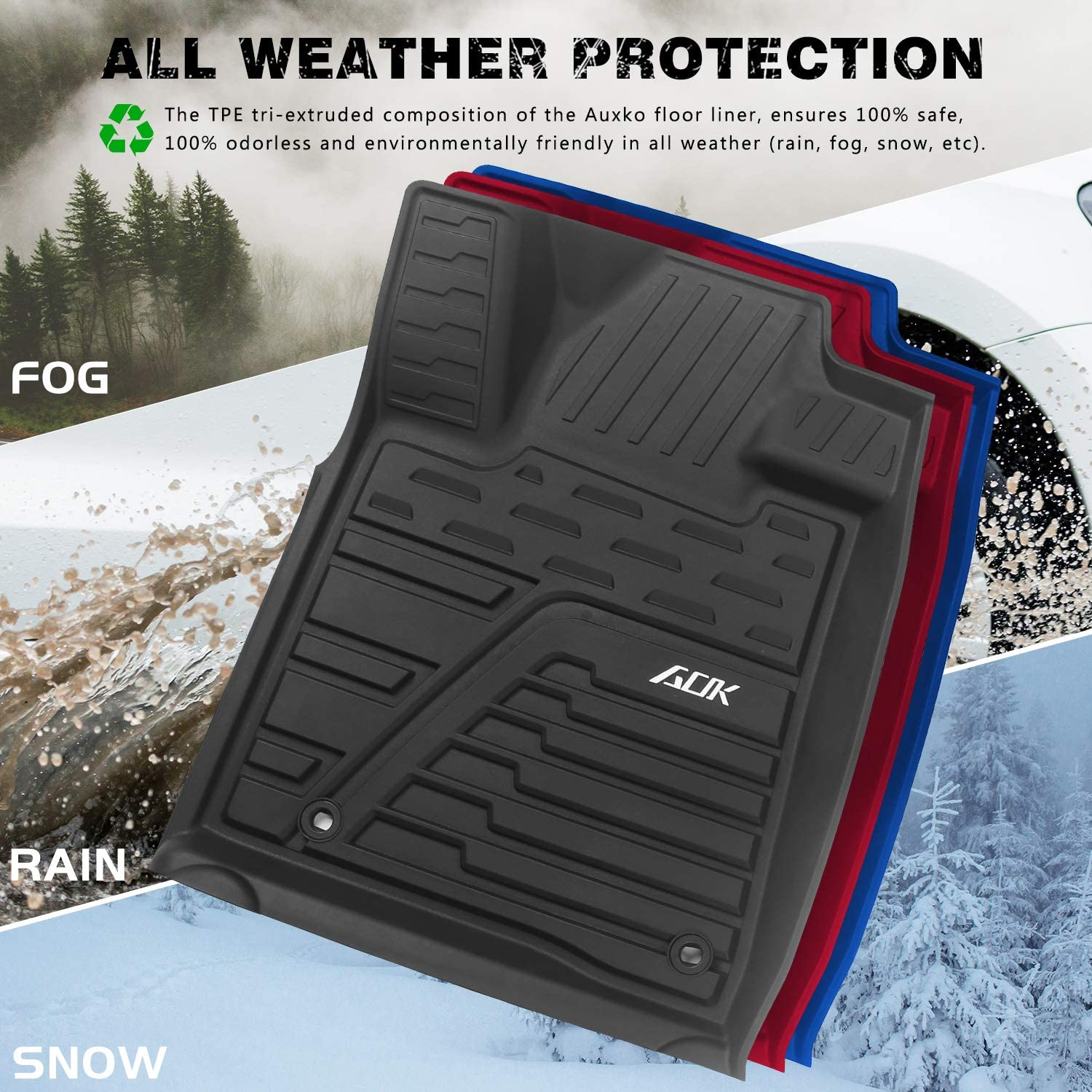 Custom Fit Liners Front /& 2nd Seat Floor Mats with All-Weather Protection Auxko Floor Liners Compatible with Toyota Tundra 2014-2020 Durable and Non-Slippery Black TPE