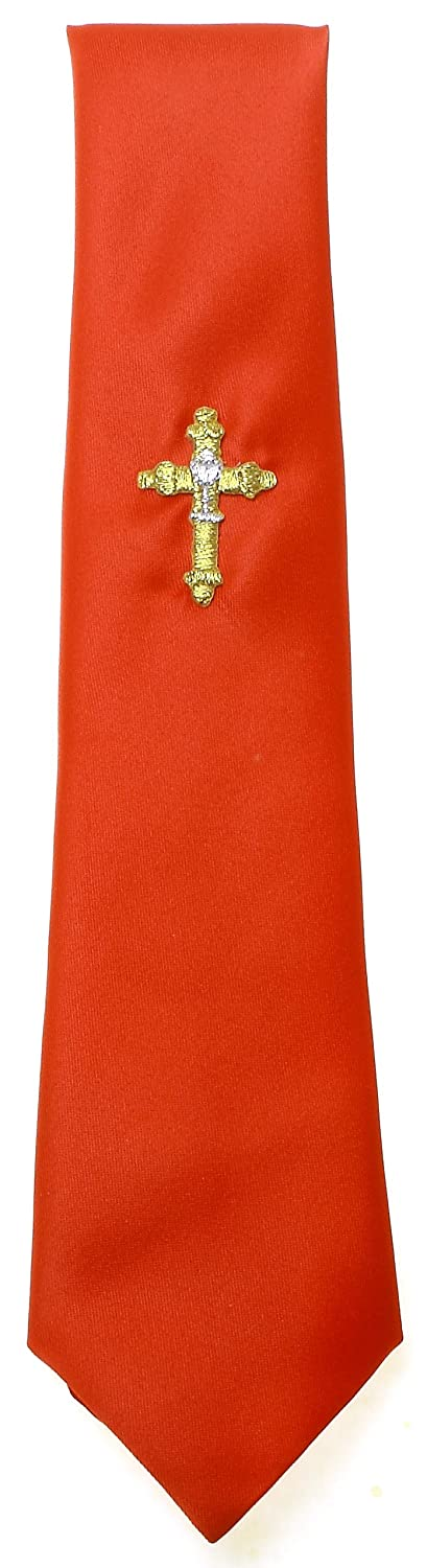 First Holy Communion Tie Red With a Gold Cross /& Silver Chalice
