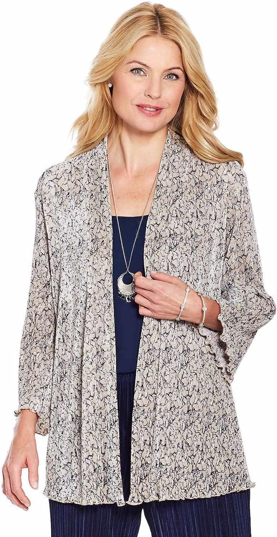 Ladies Womens Floral Plisse Soft Jacket