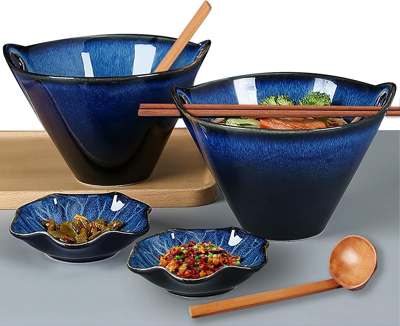 Set of 2 Quality Blue Porcelain  Ramen Bowls w// Chopsticks Utensils Great Gift