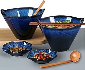 Porcelain Ramen Bowls Set of 2(8 pcs), Farielyn-X 28 Ounce Japanese Ramen Udon Noodle Miso Bowl with Chopsticks & Spoons & Dipping Dishes, Unique Reactive Glaze Bowl, Dishwasher & Microwave Safe
