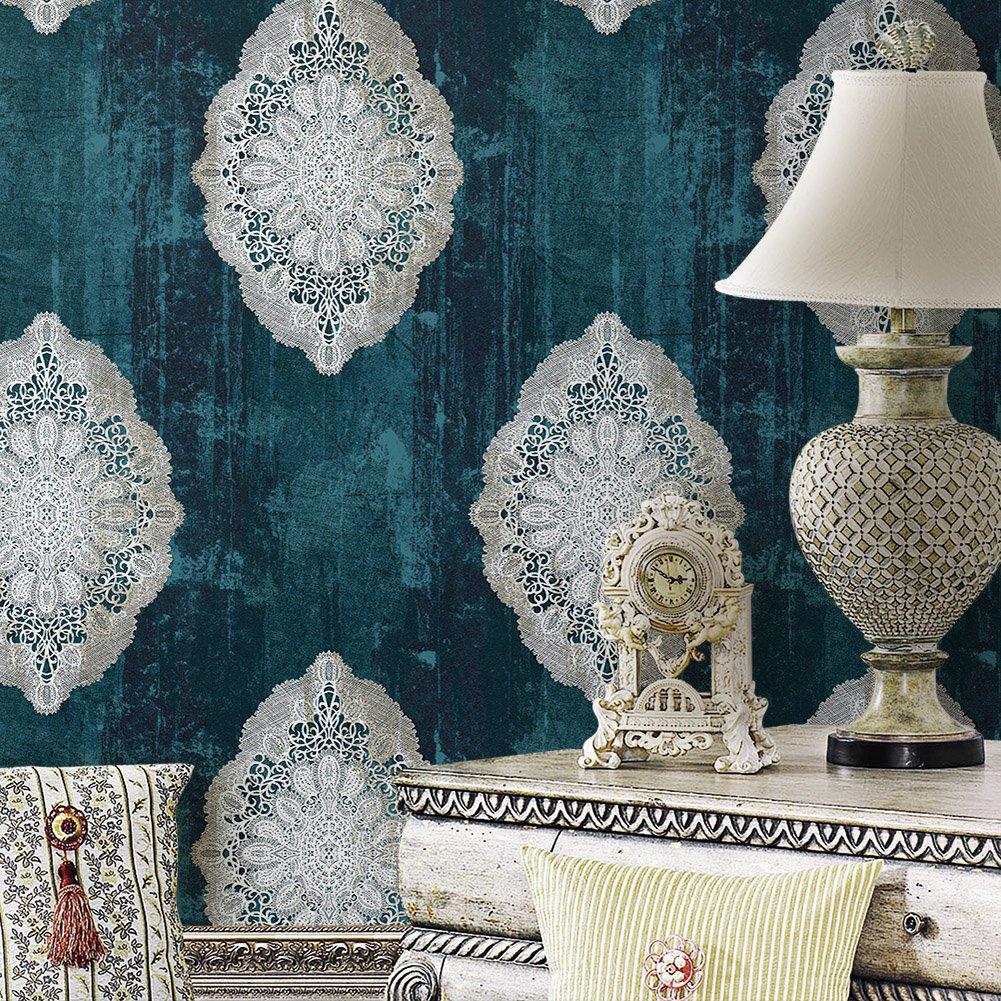 JZ127 Luxury Blue Damask Wallpaper Rolls, Metal Lace Texture Embossed Vinyl Wallpaper Bedroom Living Room Hotel Wall Decoration 20.8'' x 393.7''