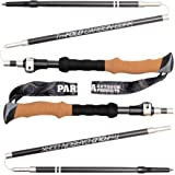 Tri-Fold Carbon Cork Trekking Poles / Sticks - Folding, Collapsible, Adjustable, and Ultralight - Perfect for Hiking, Walking