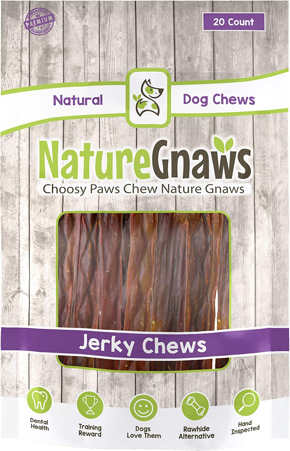 Nature Gnaws Beef Jerky Chews 9-10 inch – 100 Natural Beef Sticks for Large Dogs