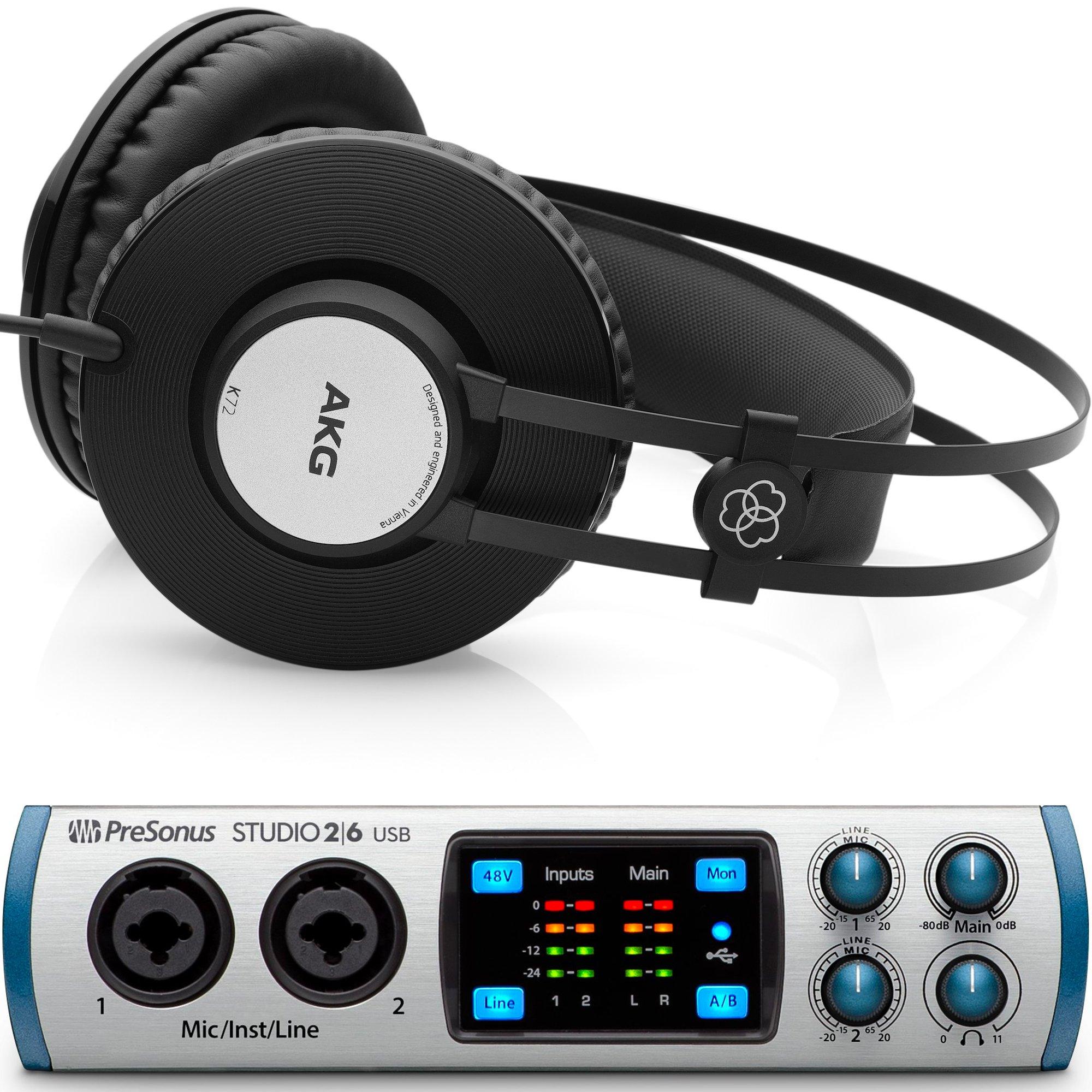 Presonus Studio 26 USB Audio Interface with AKG K72 Closed Back Studio Headphones