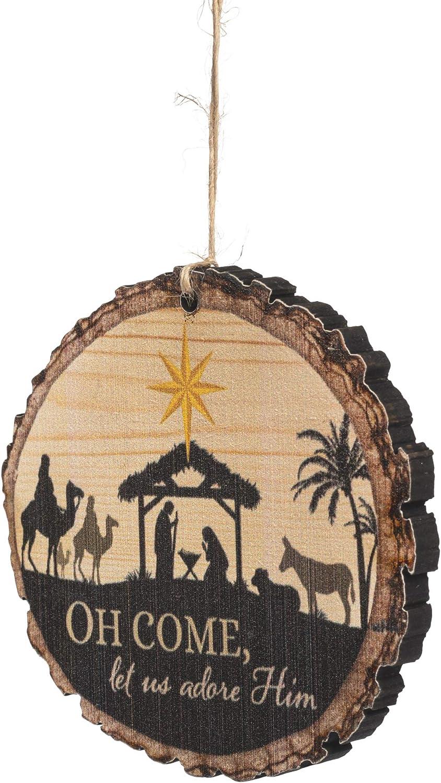 P. Graham Dunn O Come Let Us Adore Him Nativity Scene Wood Tree Bark 4 inch Christmas Tree Ornament